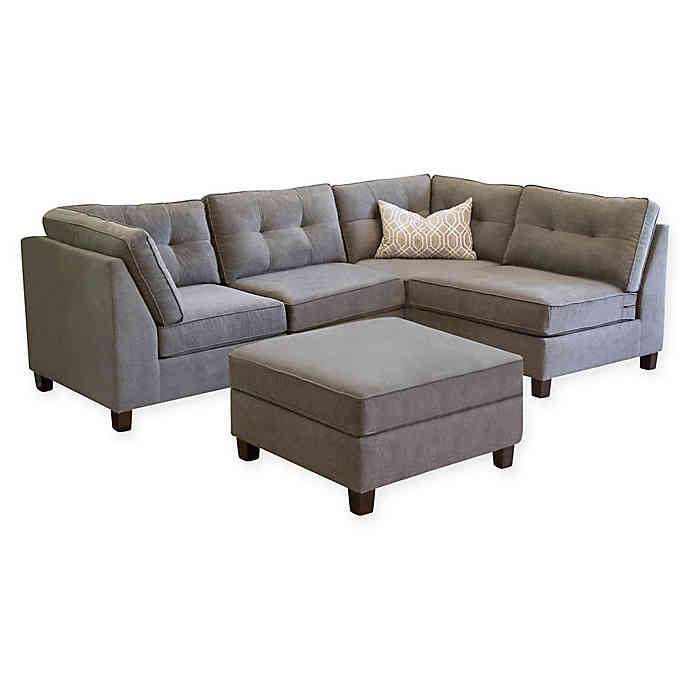 Abbyson Living Amber 5-Piece Modular Sectional Sofa in Grey | Bed .