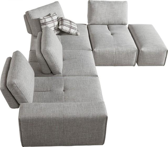 Divani Casa Platte Modern Gray Fabric Modular Sectional Sofa .