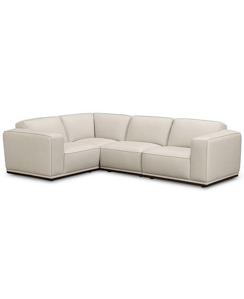 Furniture CLOSEOUT! Zeraga 4-Pc. Leather Modular Sectional Sofa .