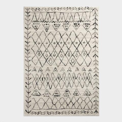 Ivory and Black Moroccan Style Shag Area Rug | World Mark