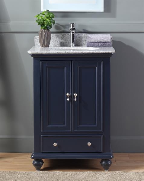 "25"" Gillian Small Narrow Powder Room Navy Blue Bathroom Vanity ."