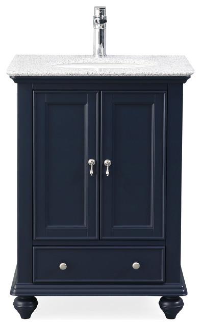 "25"" Gillian Navy Blue Narrow Bathroom Vanity - Traditional ."