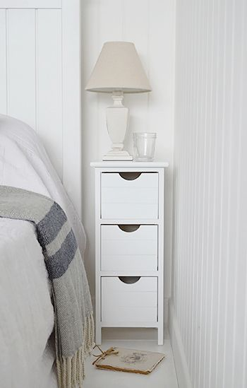 Dorset max 25cm narrow white bedside table. Bedroom Furniture .
