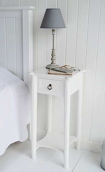 New England narrow white bedside table | White bedside table .