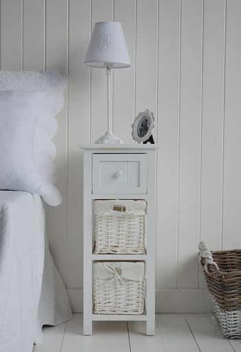 Bar Harbor narrow white bedside table. Bedroom Furniture | White .