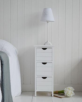 Dorset narrow white bedside tableHeight: 60.5cm Width: 25cm Depth .