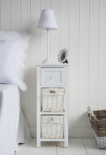 Bar Harbor narrow white bedside table 25cm wide. The White .