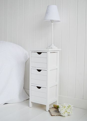 side view of Dorset narrow white bedside table   Narrow white .