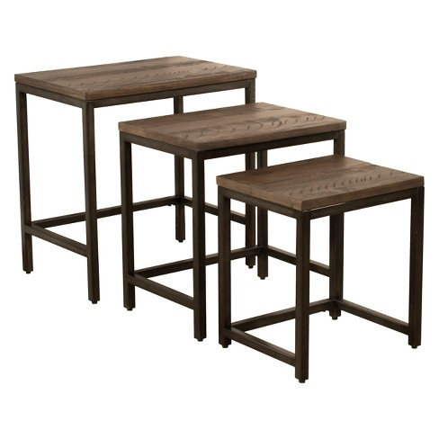 Castille Nesting Tables Set Of Three Metal Textured Black .