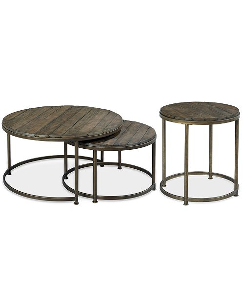 Furniture CLOSEOUT! Link Wood 2-Pc. Round Nesting Tables .