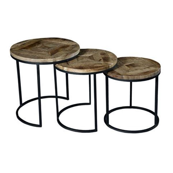 Vintage Round Nesting Tables, Set of 3 SIE-A15124 | Shivam .