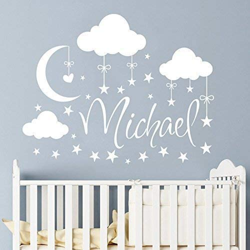 Amazon.com: Name Wall Decal Boy Clouds Nursery Decals Moon Decal .
