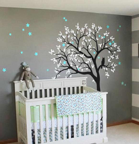 Large Owl Hoot Star Tree Kids Nursery Decor Wall Decals Wall Art .