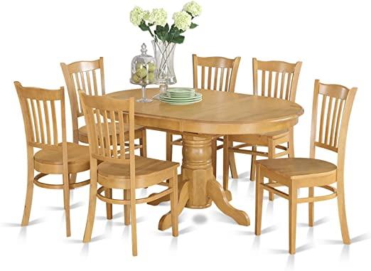 Amazon.com: AVGR7-OAK-W 7 Pc formal Dining room set- Oval dinette .