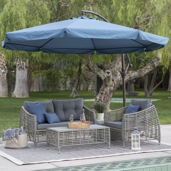 Coral Coast 11 ft. Steel Offset Patio Umbrella with Detachable Netti