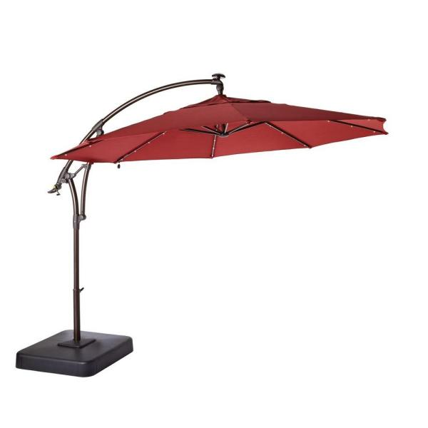Hampton Bay 11 ft. LED Round Offset Outdoor Patio Umbrella in .