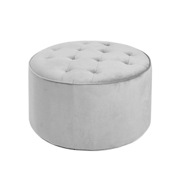 Silverwood Furniture Reimagined Collette Grey Tufted Large Round .