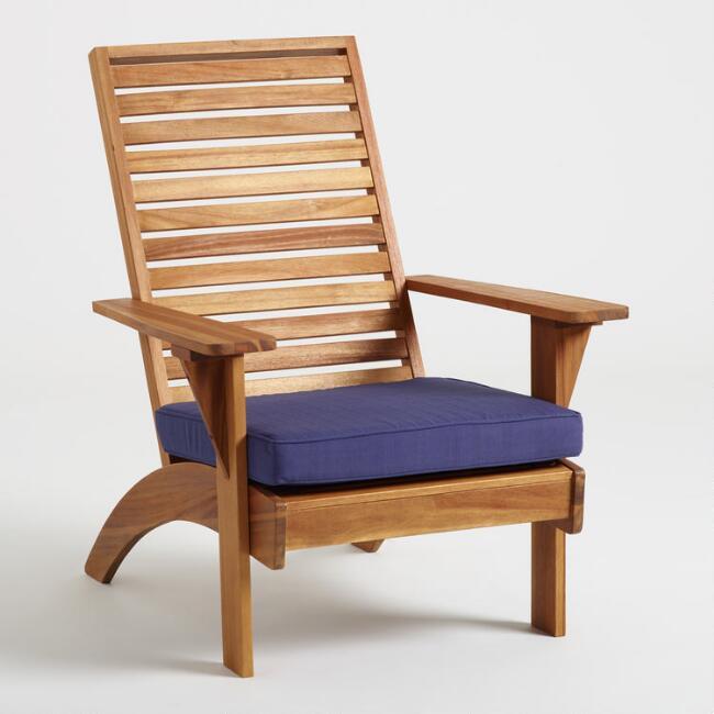 Natural Wood Hyacinth Adirondack Chair with Cushion | World Mark