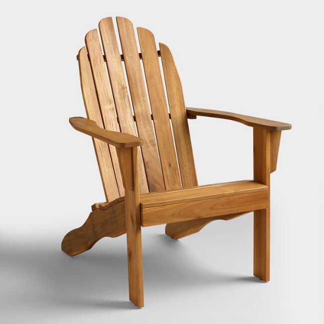 Natural Wood Adirondack Outdoor Chair | World Mark