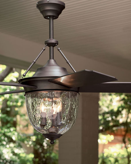 Dark Aged Bronze Outdoor Ceiling Fan with Lante