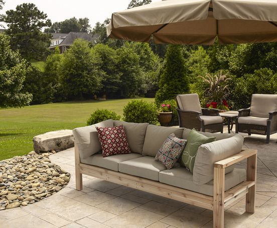 One Arm 2x4 Outdoor Sofa - Sectional Piece | Diy outdoor furniture .
