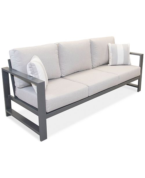 Furniture Aruba Grey Aluminum Outdoor Sofa with Sunbrella® Cushion .