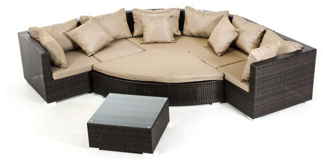 2015 All Weather Outdoor Wicker Sectional 7-Piece Resin Couch Set .