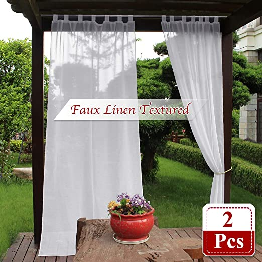 Amazon.com: NICETOWN Sheer Outdoor Curtain Panels - Waterproof .