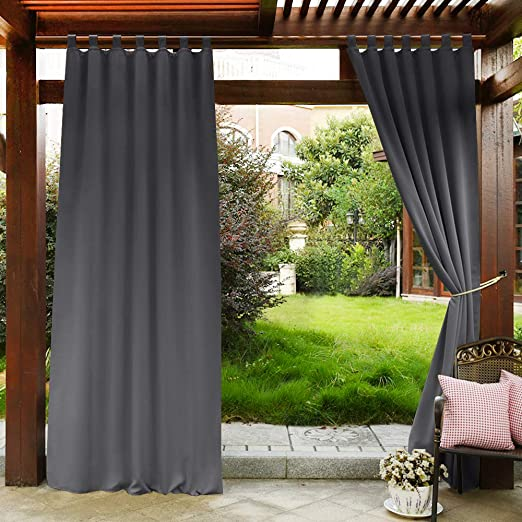 Amazon.com: PONY DANCE Grey Outdoor Curtains - Light Block .