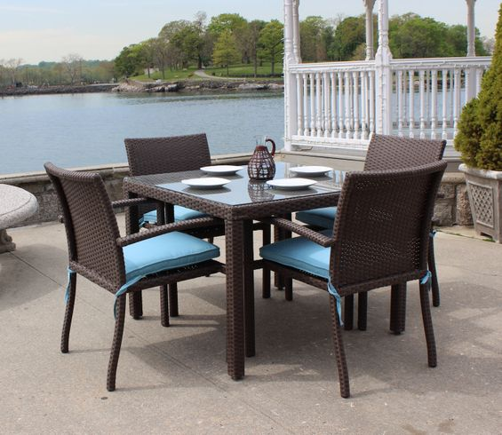 Wicker Patio Dining Set of 5 - Bro