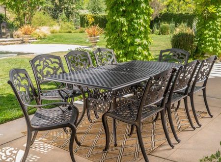 Abigal Cast Aluminum 9 Piece Outdoor Dining Set - Walmart.com .