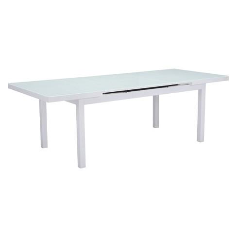 "71"" - 94"" Modern Expandable Outdoor Dining Table White - ZM Home ."