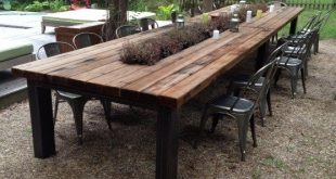 Outdoor Redwood Dining Table with galvanized middle trough and .