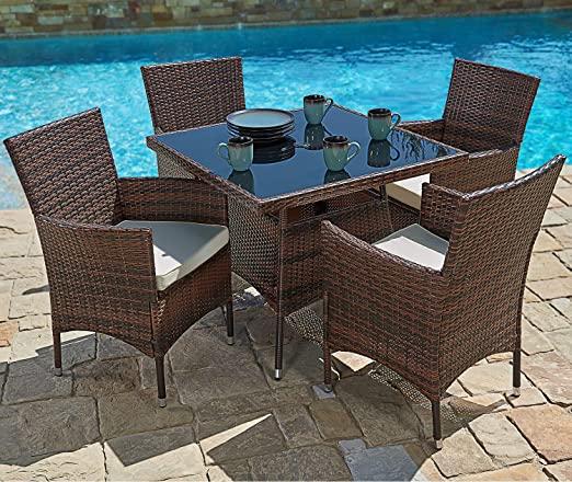 Amazon.com: SUNCROWN Outdoor Furniture All-Weather Square Wicker .