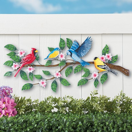 Songbirds on Tree Metal Outdoor Wall Decor | Collections Et