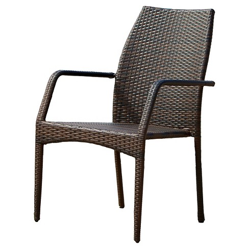 Canoga Set Of 2 Wicker Patio Chairs - Multi Brown - Christopher .
