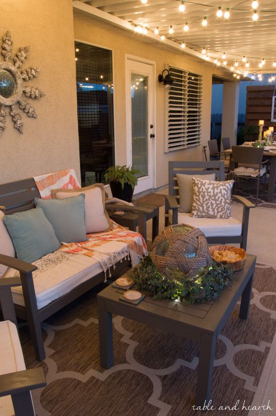 Coastal Summer Patio Decor - Rustic touches and a little whimsy .