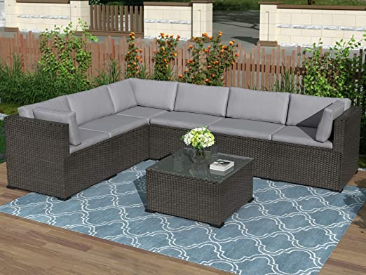 Amazon.com: 7-Piece Patio Furniture Set Outdoor Sectional .