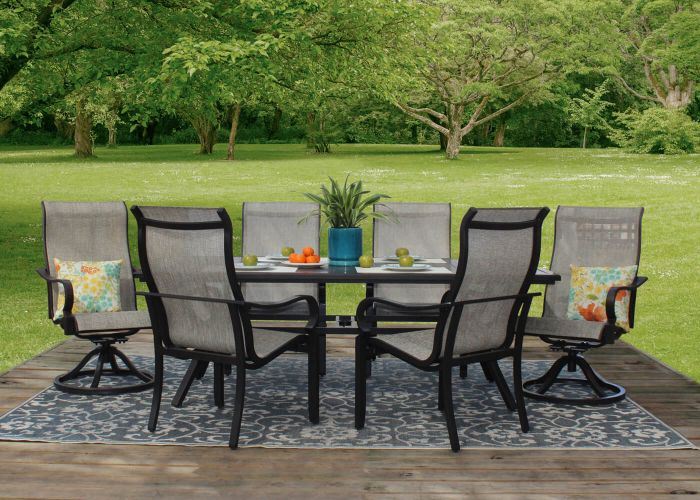 Laurel 7-Piece Aluminum Sling Patio Furniture Dining S