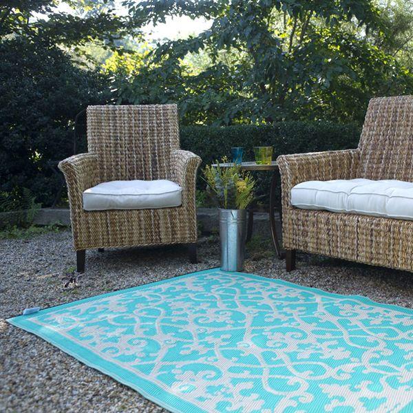 cream, turquoise, plastic outdoor rug, patio rug, indoor outdoor .