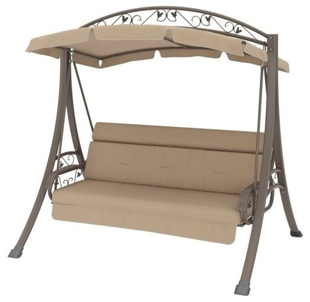 Pemberly Row Patio Swing with Arched Canopy in Beige - Traditional .