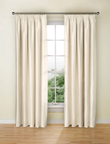 Faux Silk Blackout Pencil Pleat Curtains | Curtains - ready-made .