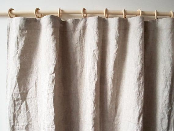 Linen pencil pleat curtains Shabby chic curtains Organic | Et