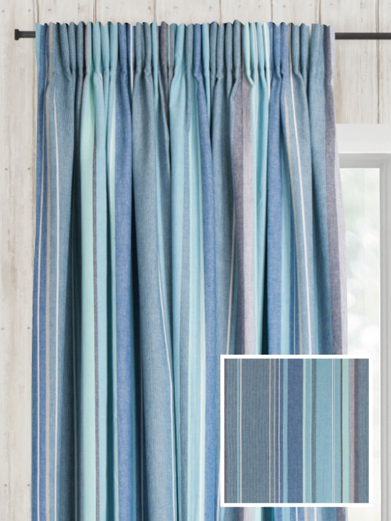 Ready Made Pencil Pleat Curtains In Azure - Loom and La