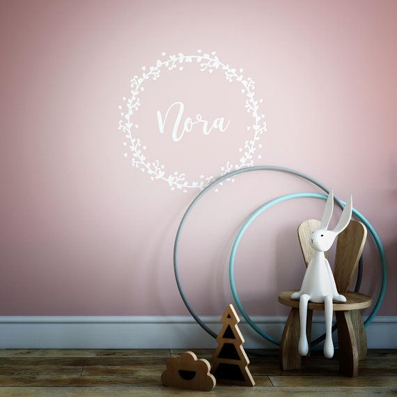 Personalised Wall stickers, Baby Girl, wall decal, Garland, wreath .