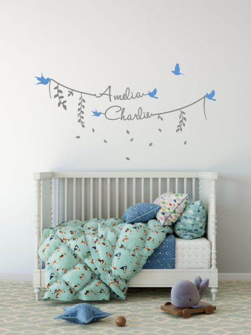 Modern Stylish Two Name Wall Stickers - Personalised wall stickers .