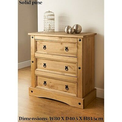 New Rio 3 Drawer Chest Besides Bedroom Solid Pine Furniture | eB