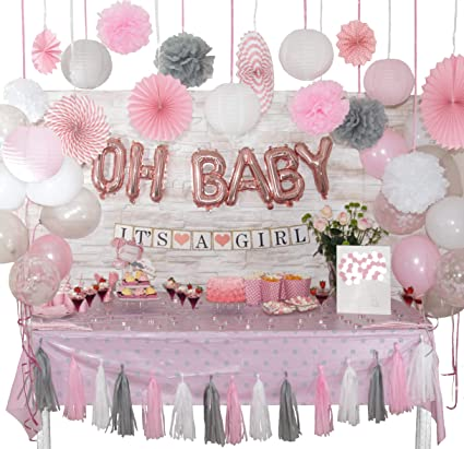 Amazon.com: +100 Pcs Baby Shower Decorations for Girl | White .