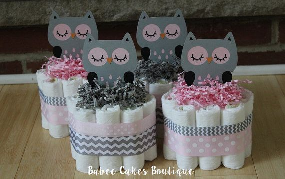 SET OF 4 Pink and Gray Owl Mini Diaper Cakes, Girls Owl Baby .