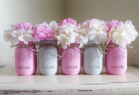 Pink and Gray Distressed Mason Jars. Baby Shower Centerpieces .